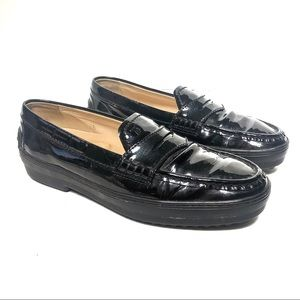Tods Womens Black Classic Loafers Size 8.5